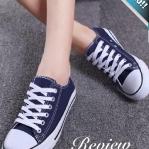รองเท้าผ้าใบผู้หญิงสีน้ำเงิน แบบเชือกผูก ทรงคลาสสิค ฮิตตลอดกาล แฟชั่นเกาหลี แฟชั่นพร้อมส่ง