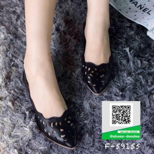 รองเท้าคัทชูส้นแบน ฉลุลาย Pointed Toe Flat Shoes (สีดำ )