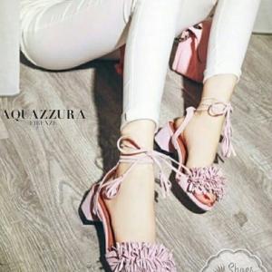 รองเท้าส้นสูงสีชมพู งานนำเข้า Brand-Aquazzura Brandปั้มlogo ความสูง2นิ้ว งานเป๊ะมาก รับกระกันความงามน๊า