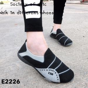รองเท้าผ้าใบแฟชั่นสีดำ ไร้เชือก สไตล์ Sport Girls (สีดำ )