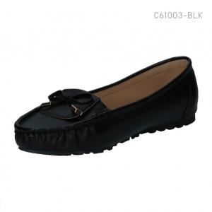 รองเท้าคัทชูส้นแบน ทรงมอคคาซิน ติดโบว์ (สีดำ )