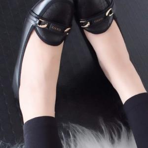 รองเท้าคัทชูส้นเตารีด หัวตัด หนังนิ่ม เรียบหรูดูดี (สีดำ )