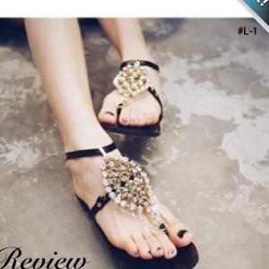 รองเท้าแตะผู้หญิงสีดำ รัดข้อเท้า ตกแต่งด้วยแผงเพชร สวยหรู เลอค่า แฟชั่นเกาหลี แฟชั่นพร้อมส่ง