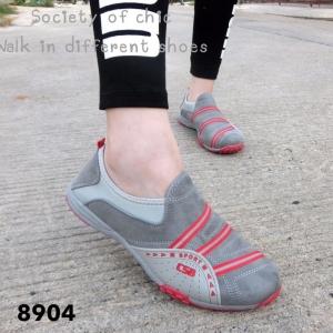 รองเท้าผ้าใบแฟชั่นสีเทา ไร้เชือก สไตล์ Sport Girls (สีเทา )