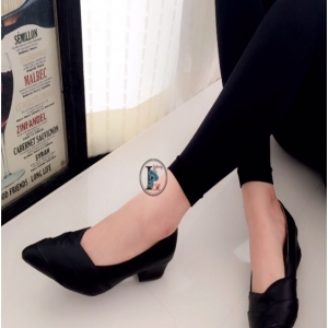 รองเท้าคัทชูหนัง หัวแหลม (สีดำ )
