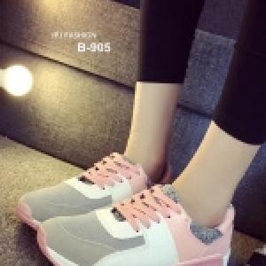 รองเท้าผ้าใบเสริมส้น ทรีโทน (สีชมพู )