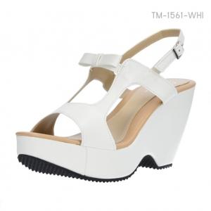 รองเท้าส้นเตารีดรัดส้น แต่งโบว์ (สีขาว )