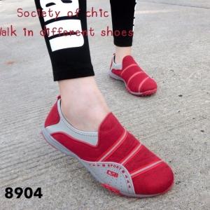 รองเท้าผ้าใบแฟชั่นสีแดง ไร้เชือก สไตล์ Sport Girls (สีแดง )