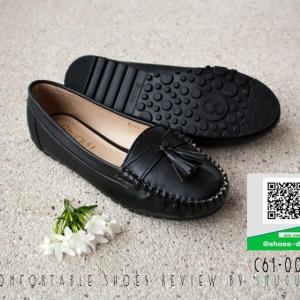 รองเท้าคัทชูส้นแบนสีดำ ทรงMoccasin (สีดำ )