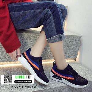 รองเท้าผ้าใบสไตล์เกาหลี IM0223-NAVY [สีกรม]