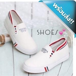 รองเท้าผ้าใบผู้หญิงสีขาว สุดฮิต สไตล์สาวเกาหลี ทรงนี้ขายดีมากๆ แต่งขอบรองเท้าด้วยผ้าหนานุ่ม