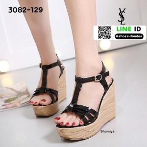 รองเท้าส้นเตารีด สไตล์เกาหลี 3082-129-BLK [สีดำ]
