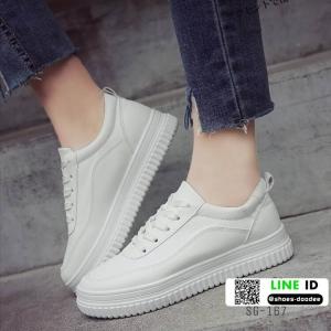 รองเท้าผ้าใบหนัง pu นิ่มสีเรียบ SG-167-WHT [สีขาว]