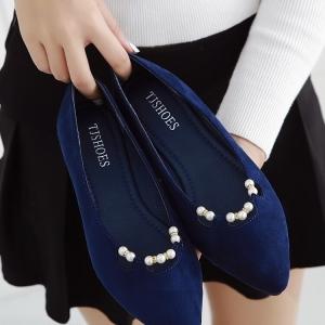 รองเท้าคัทชู หัวแหลม แต่งมุก (สีน้ำเงิน)
