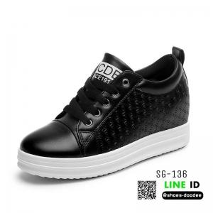 รองเท้าผ้าใบสปอร์ท หนัง pu SG-136-BLK [สีดำ]