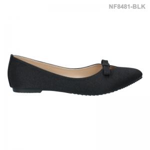 รองเท้าคัทชูส้นแบน ทรงบัลเลต์ แต่งโบว์ (สีดำ )