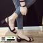 รองเท้าส้นเตี้ยรัดส้น ส้นกลม G-1419-BLK [สีดำ]