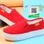 รองเท้าผ้าใบแฟชั่นสีแดง พื้นยางผสมกลิ่นหอมของดอกไม้ (สีแดง ) thumbnail 4