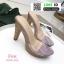 รองเท้าส้นสูงเปิดส้น ส้นไม้ หน้าใส 3006-92A-PNK [สีชมพู] thumbnail 3