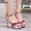 รองเท้าส้นสูงรัดข้อเปิดท้าย ST208-PNK [สีชมพู] thumbnail 2