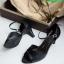 รองเท้าส้นสูงรัดส้นสีดำ Peep Toe High Heel (สีดำ ) thumbnail 5