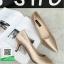 รองเท้าคัทชูส้นสูงสีทอง หัวแหลม ผ้าซาติน (สีทอง ) thumbnail 3