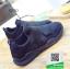 รองเท้าผ้าใบหุ้มข้อสีดำ แบบผูกเชือกแฟชั่น (สีดำ ) thumbnail 5