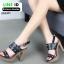 รองเท้าส้นสูงเสริมหน้า ส้น pu ลายไม้ 318311-BLK [สีดำ] thumbnail 2