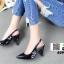 รองเท้าส้นสูงหัว แหลมรัดส้น B29-005-BLK [สีดำ] thumbnail 2