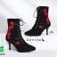 รองเท้าบูทส้นเข็มสีดำ แบบผูกเชือก สไตล์เกาหลี (สีดำ ) thumbnail 7