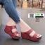 รองเท้าส้นเตารีดแบบสวม2ตอน 8052-แดง [สีแดง] thumbnail 1