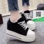 รองเท้าผ้าใบเสริมส้นสีดำ สไตล์เกาหลี (สีดำ ) thumbnail 2