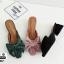 งานเกาหลี รองเท้าส้นสูงแบบสวม เปิดท้าย ด้านหน้าทรงวี G-1467-GRN [สีเขียว] thumbnail 4