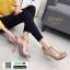 รองเท้าส้นแก้วแบบใหม่ หน้าสวม pu ใส 816-5-KHA [สีกากี] thumbnail 2