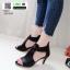 รองเท้าส้นสูง ซิปหลัง 350-209-ดำ [สีดำ] thumbnail 1