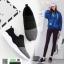 รองเท้าผ้าใบแบบสวมไรเชือก แต่งสีทูโทน B-3-BLK [สีดำ] thumbnail 3