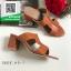 รองเท้าส้นตันเปิดส้นสีน้ำตาล สไตล์ Hermes (สีน้ำตาล ) thumbnail 2