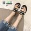 รองเท้าแตะแฟชั่น ฉลุลาย อะไหล่กลม N811-BLK [สีดำ] thumbnail 4