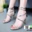 รองเท้าส้นเข็ม สายคาดหน้าหนังปรอท G1281-GLD [สีทอง]