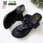 รองเท้าลำลอง แบบหูคีบหนังนิ่ม 6131-ดำ [สีดำ] thumbnail 3