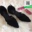 รองเท้าส้นเตี้ยรัดส้นสีดำ Ankle Strap Pointy Toe Flat (สีดำ )