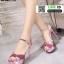 รองเท้าส้นสูงรัดข้อเปิดท้าย ST208-PNK [สีชมพู] thumbnail 3