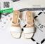 รองเท้าส้นตันสีขาว รัดส้น ส้นไม้สวยเกร๋ (สีขาว ) thumbnail 2