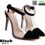 รองเท้าส้นสูงเข็ม หัวแหลม ใสรัดข้อ 882-2-BLK [สีดำ]