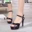 รองเท้าส้นสูงรัดข้อเปิดท้าย ST208-BLK [สีดำ] thumbnail 1