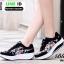 รองเท้าผ้าใบ แบบเสริมพื้นลายดอก W803-BLK [สีดำ] thumbnail 1