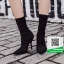 รองเท้าบูทส้นเข็มสีดำ ผ้าซาติน ยืดหยุ่น (สีดำ ) thumbnail 1