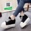 รองเท้าผ้าใบเสริมส้นสีดำ สไตล์เกาหลี (สีดำ ) thumbnail 3