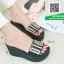 รองเท้าส้นเตารีดสีดำ สไตล์ลำลอง (สีดำ )