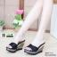รองเท้าส้นเตารีดแบบสวม SJ337-BLK [สีดำ] thumbnail 2